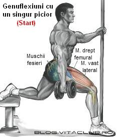 Exercitii pentru coapse-Genuflexiuni cu un singur picior cu gantere