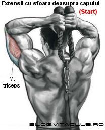exercitii pentru triceps cu extensii la cablu cu sfoara deasupra capului