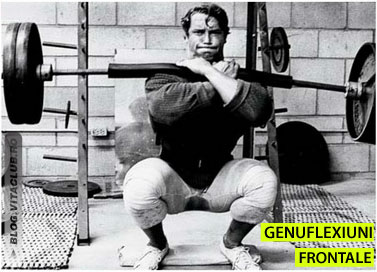 Arnold efectuand genuflexiuni cu bara la piept pentru coapse