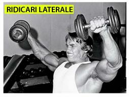 Arnold executand exercitiul  ridicari laterale cu gantere pentru umeri