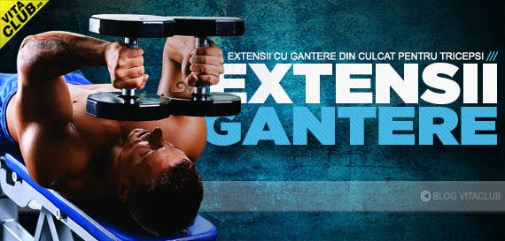 antrenament triceps cu extensii triceps cu gantere