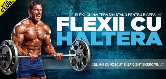 flexii pentru biceps cu bara din picioare
