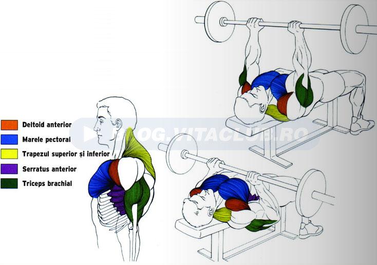 exercitii triceps de impins cu priza ingusta