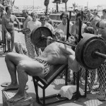 arnold schwarzenegger- chest workout barbel