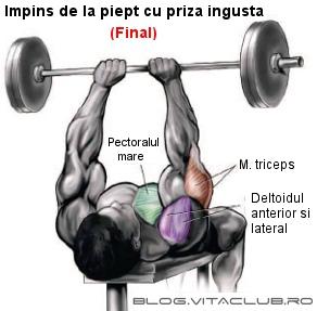 exercitii pentru triceps cu impins de la piept cu haltera cu priza apropiata