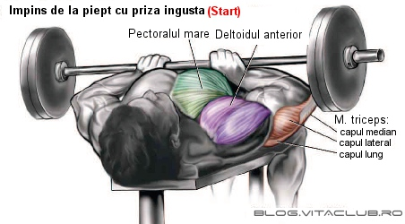 impins de la piept cu haltera pentru muschiul triceps