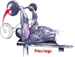 extensia bratelor cu bara EZ din culcat pentru triceps cu priza larga
