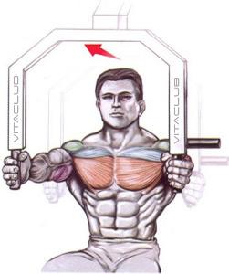 impins de la piept  la aparat din sezand pentru musculatura pieptului