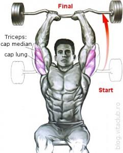extensii cu bara Ez deasupra capului pentru triceps