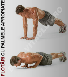 flotarile cu priza ingusta sunt un exercitiu pentru triceps ce va ajuta sa dezvoltati masa musculara a bratelor