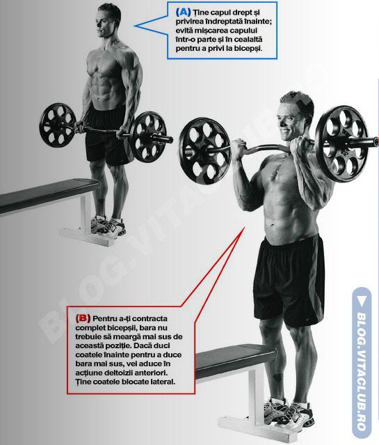 Flexiile cu bara EZ sunt un exercitiu excelent pentru biceps