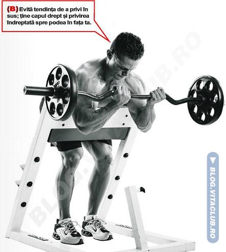 flexiile cu bara la banca Scott sunt un excelent exercitiu de izolare pentru biceps