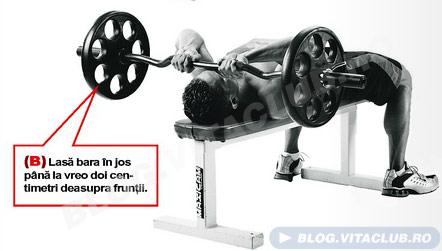 program de antrenament pentru triceps - extensii cu bara EZ din pozitia culcat