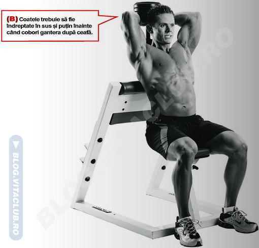 extensia tricepsului cu gantera deasupra capului implica foarte bine muschiul triceps in miscare