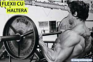 Arnold in timp ce face flexii cu haltera, un alt exercitiu pentru muschii bicepsi