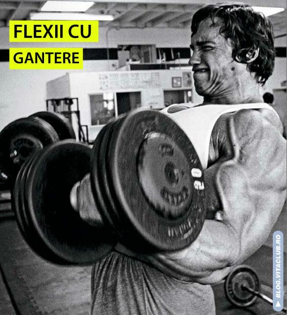 Arnold efectuand flexii cu gantere, un exercitiu pt biceps