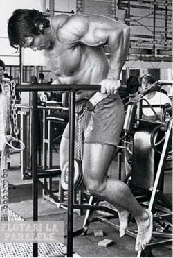 Arnold Schwarzenegger face flotari la paralele pentru piept cu greutate