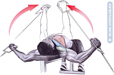 fluturarile la cabluri din culcat sunt un exercitiu pentru piept