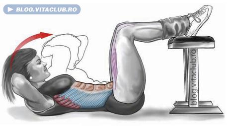 crunch pentru abdomen cu picioarele pe banca