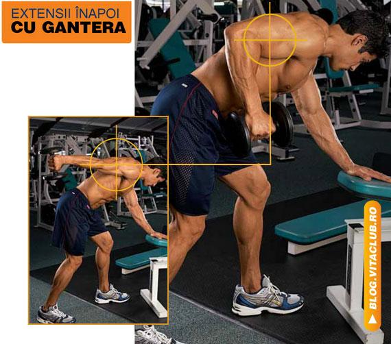 extensii spre inapoi cu gantera pentru triceps din pozitia stand aplecat