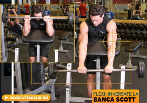 flexii la banca scott pentru bicepsi si antebrate